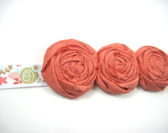 Coral bridal sash - maternity sash - spring sash - summer sash - wedding sash - flower sash