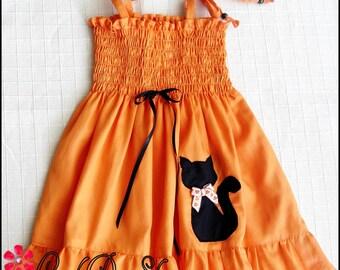 Orange Halloween dress, Girls Halloween dress, Baby cat dress, Black cat dress, Baby Halloween dress,  Girls Pumpkin dress, Girls cat dress
