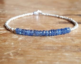 Blue Kyanite Bracelet Hill Tribe Silver Bracelet Womens Gift for Women Jewelry Bead Beaded Bracelets Gemstone Gifts for Her Wife Girlfriend