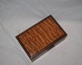 Jewelry Box Fancy Walnut Box Inlayed with Quilted Maple  11''x7''x4'' Handcrafted Keepsake Box, Dresser box or Trinket box