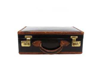 Small Suitcase with Leather Trim