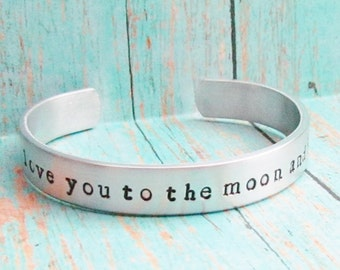 BOYS Bracelet I LOVE You To The MOON And Back Cuff Aluminum Kids Jewelry Hand Stamped Toddler Child Sizes Available