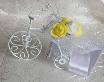 wedding accessory 10xSET White Bicycle Wedding Favor Bike  white and yellow roses customized design