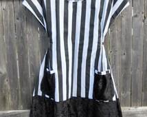 Prairie Dress - Black and White Stripped Goth Dress with Velour Black Bottom - Cotton