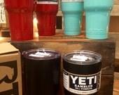 SALE Powder coated Yeti painted Rambler tumbler custom cerakote monogram initial logo Yeti cup triple insulated color 20oz 30oz great gift