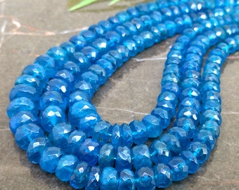 Natural Neon Blue Apatite 4-8mm Faceted Rondelle Gemstone Beads / Approx 130 pieces on 16 Inch long strand / JBC-ET-135124