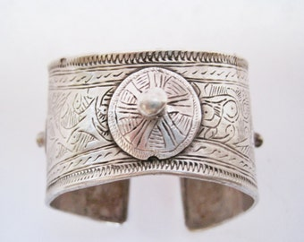 Moroccan Bracelet, Silver Flared Berber Cuff from Morocco, Ram Head Hallmark, Tribal Jewelry