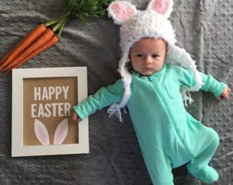 Bunny Hat - Easter Rabbit Ears - Baby Bunny Hat - Easter Bunny Beanie - Customizeable Bunny Hat - by JoJosBootique