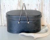Vintage Black Metal Pail, Antique Lunch Box