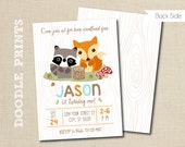 """Woodland Birthday Party Invitation - Fox, Raccoon Personalized Printable - Fall Forest Invitation """"Woodland Forest Design"""" 4x6"""" or 5x7"""""""