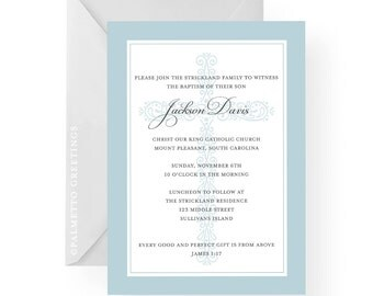 Classic Baptism, First Holy Communion, Confirmation Religious Invitation with Ornate Cross Background, Available in any color