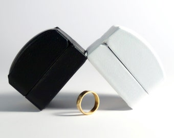 Leatherette Ring Box for Wedding Rings Engagement Rings in Black or White