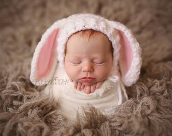 Baby Bunny Hat with Floppy Ears, Newborn Easter Bunny Hat, Baby Girl Bunny Hat, Pink Ears, White Bunny, Bunny Toy, Newborn Photo Prop