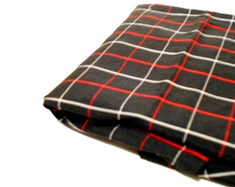 Black Windowpane Checked Material, Mystery Fabric, 1 Yd Vintage Fabric Remnant