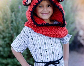 Fox Hooded Cowl,  Hooded Scarf Hat, Fox Hooded Cowl Hat, Animal hooded cowl, Winter hat, Children's Hooded Cowl, Winter accessories, Fox