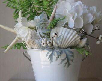 Nautical Centerpiece, Summer Centerpiece, White Floral Arrangement, Seashells, Sand Dollar, Starfish, Tin Bucket Gift Arrangement
