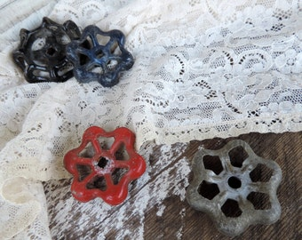 Antique Knob or Handle for Faucet Set of 4 Red Blue and Gray Metal Home Improvement Decor Craft Supply Vintage Faucets Handles Painted