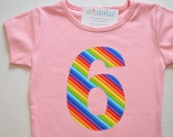 Girl 6th Birthday Shirt, Rainbow Birthday Party, Number 6 Shirt, Applique Six Tee, Ready to Ship, Pink Short Sleeve, Red Blue Green Purple