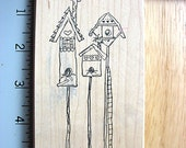 Stamps by Judith XL Three Birdhouses DESTASH Rubber Stamp, Used Rubberstamp, bird house stamp, whimsical birdhouses