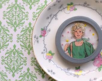 "Mixed Media Art - Embroidered -Framed Art - Recycled Art - ""Billie"""