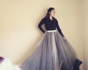 Silver Grey-Simply long tulle wedding skirt-fairy wedding skirt