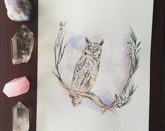 Woodland Owl Original Painting
