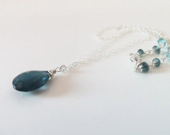 Moss Aquamarine Dark Blue AAA Gemstone Natural Handmade Necklace with Sterling Silver