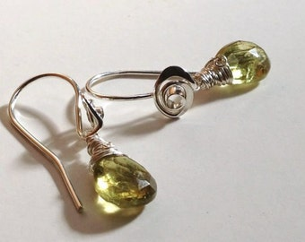 Green Garnet Drop Earrings Hand Forged Rose earwires by JeanineDesigns of Recycled Sterling Silver