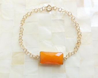 Step-Cut Faceted Fanta Orange Chalcedony Vermeil Bezel Rectangle Connector on Gold Chain Bracelet (B1220)