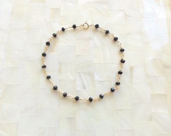 Faceted Black Spinel Rondelle Vermeil Wire Wrapped Chain Bracelet (B1183)