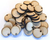 "Unfinished Round Wood Circle Discs with hole 1 1/4"" Set of 50, wood disc, jewelry supplies, craft earring supplies, wood jewelry, DIY"