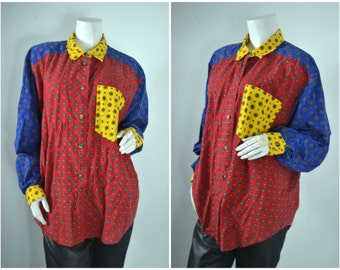 90s 80s Liz Claiborne  colorblock red white yellow collared button up shirt
