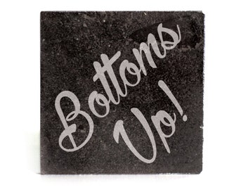Coasters Set of 4 - black granite laser - 9957 Bottoms Up!