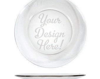 Personalized Engraved Glass Serving Platter 13in Cookie or Brownie tray etched w/ design 10701 Customized