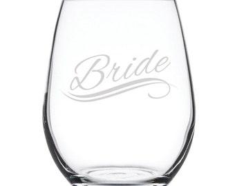 Stemless White Wine Glass-17 oz.-7823 Bride
