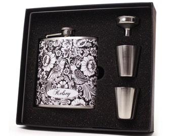 Exotic Birds Liquor Flask for Women Gift Set
