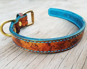 Leather Dog Collar - Hand Stitched and Hand Dyed