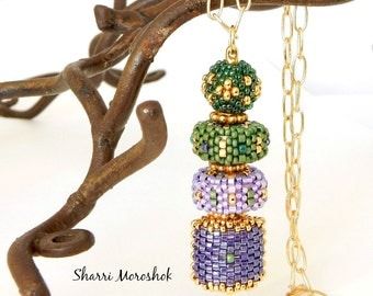 Beaded Pendant Necklace - Mardis Gras Beaded Beads by Sharri Moroshok