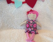 VALENTINE'S DAY ragroll - handmade doll - ooak - pink and gray with hearts and flowers - pink hair