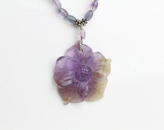 Genuine Amethyst and Green Prasiolite Necklace with Amethyst Flower Pendant Necklace