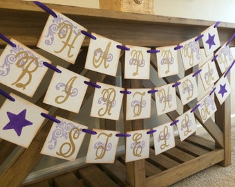 Happy Birthday Banner | Custom With Name | Purple and Gold | Girls Birthday Party Decor