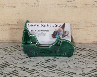 Ceramic Golf Cart Business Card Holder - Desktop Business Card Holder