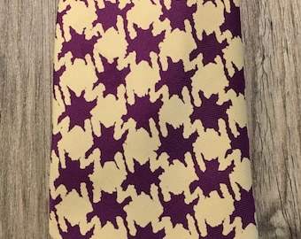 Vintage Turnbull & Esser Yellow and Purple Abstract Houndstooth Mens Skinny Necktie- skinny necktie, purple print necktie, mens necktie