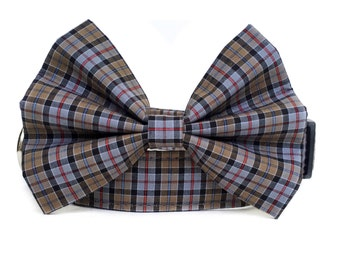 Plaid Dog Collar / Plaid Dog Bowtie / Plaid Dog Bow Tie / Gray Plaid Dog Collar / Boy Dog Collar / Plaid Bow Tie Collar / Brown Plaid Collar