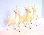 Christmas Vintage Deer White Stags Woodland Decor 1950s 1960s Set of 3