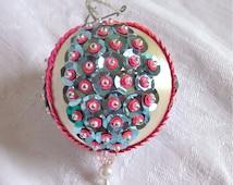 Christmas Decoration Aqua Pink Ornament Hollywood Regency Vintage 1960s 1970s Handmade Jeweled ornament