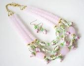 Pink Statement Necklace, Pink Floral Necklace, Elegant Multi Strand Necklace, Cocktail Necklace, Rose Bud Necklace, Pink Artisan Necklace