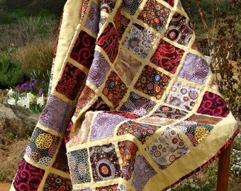 Aboriginal Quilted Throw/Amazing Wall Hanging, Raw Edge Lightweight