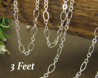 Sterling Silver Cable Chain - Flattened Links Medium And Short  - 3 Feet  4.9mm x 2.7mm CH52 - 3