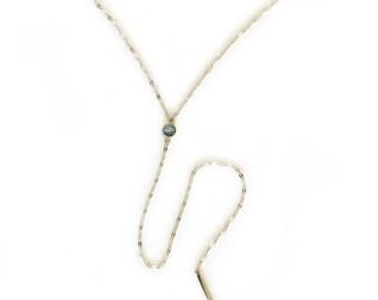 Gemstone Glimmer Lariat - Labradorite/Silver